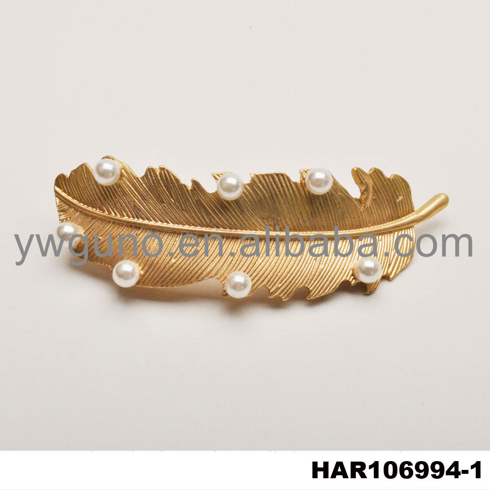 New design hair accessories gold leaf hair pins with pearl