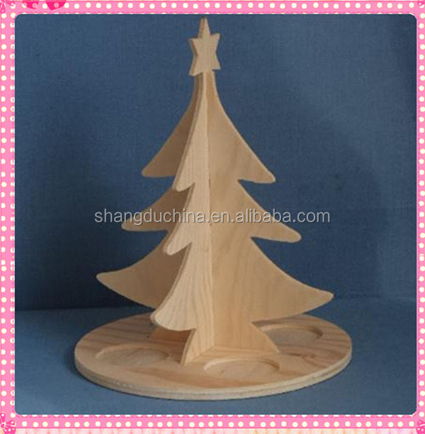 Shangdu unique design small wood craving decorative christmas tree