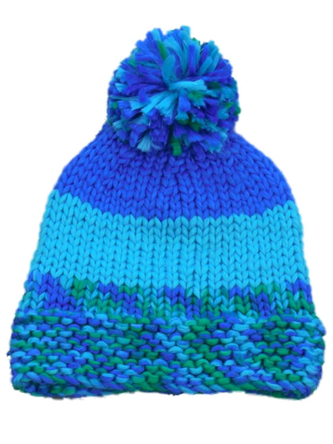 587a7a09d2961 Get Quotations · Urbanology Womens Blue And Green Knit Beanie Stocking Cap  Hat