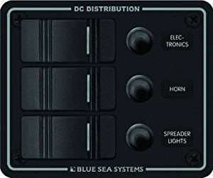 Blue Sea Systems Water Resistant 3 Position Circuit Breaker Panel, Black by Blue Sea Systems