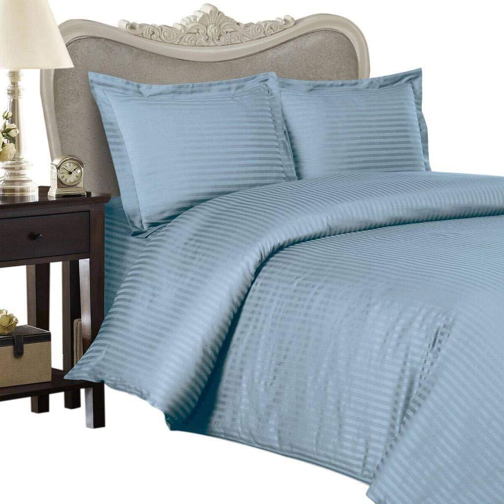 Luxurious SEVEN (7) Piece Set, BLUE Damask Stripe, EASTERN KING Size, 4pc BED SHEET SET & 3pc DUVET SET, 1200 Thread Count Ultra Soft Single-Ply 100% Egyptian Cotton, 1200TCSheet & Duvet Set includes Two (2) Shams & TWO (2) Pillow Cases