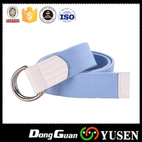 Contemporary unique metal buckle flexible canvas fabric belt