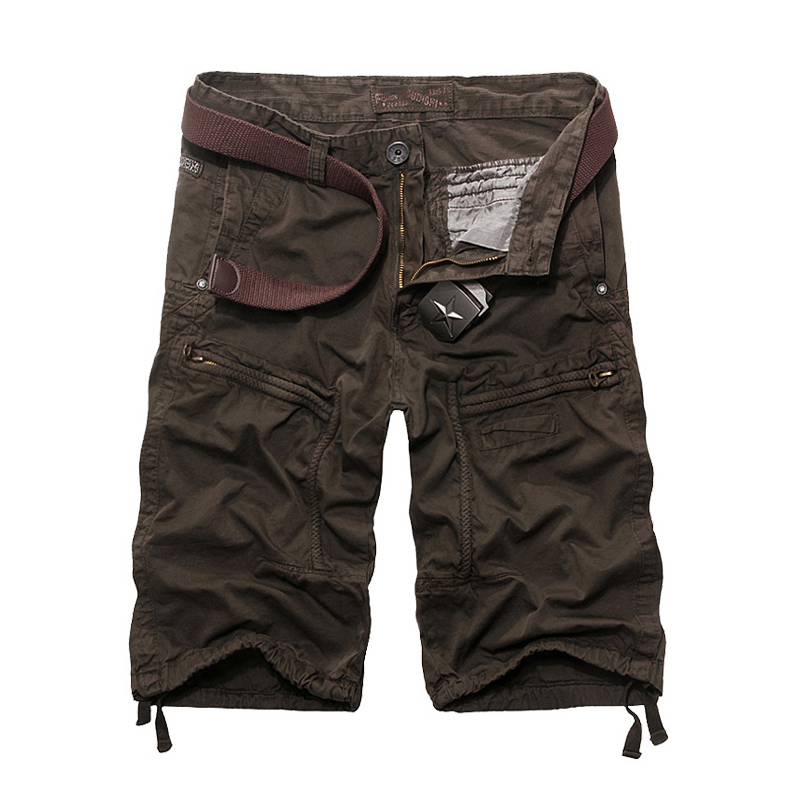 Summer 2015 New Fashion Casual Men Shorts High Quality Casual Mens Cargo Shorts Khaki Coffee Color Military Men Shorts
