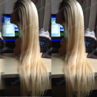 new style!!! 100% virgin brazilian human hair,two tone color 1b#/613# ombre color blonde lace wigs virgin straigh full lace wig
