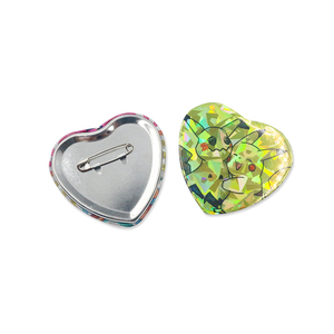 Custom Heart Badge With Holographic Effect Heart Shape Tin Badge Button