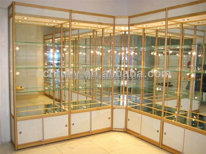 Venta caliente hermosa estanteria de cristal con luz led - Estanterias con cristal ...