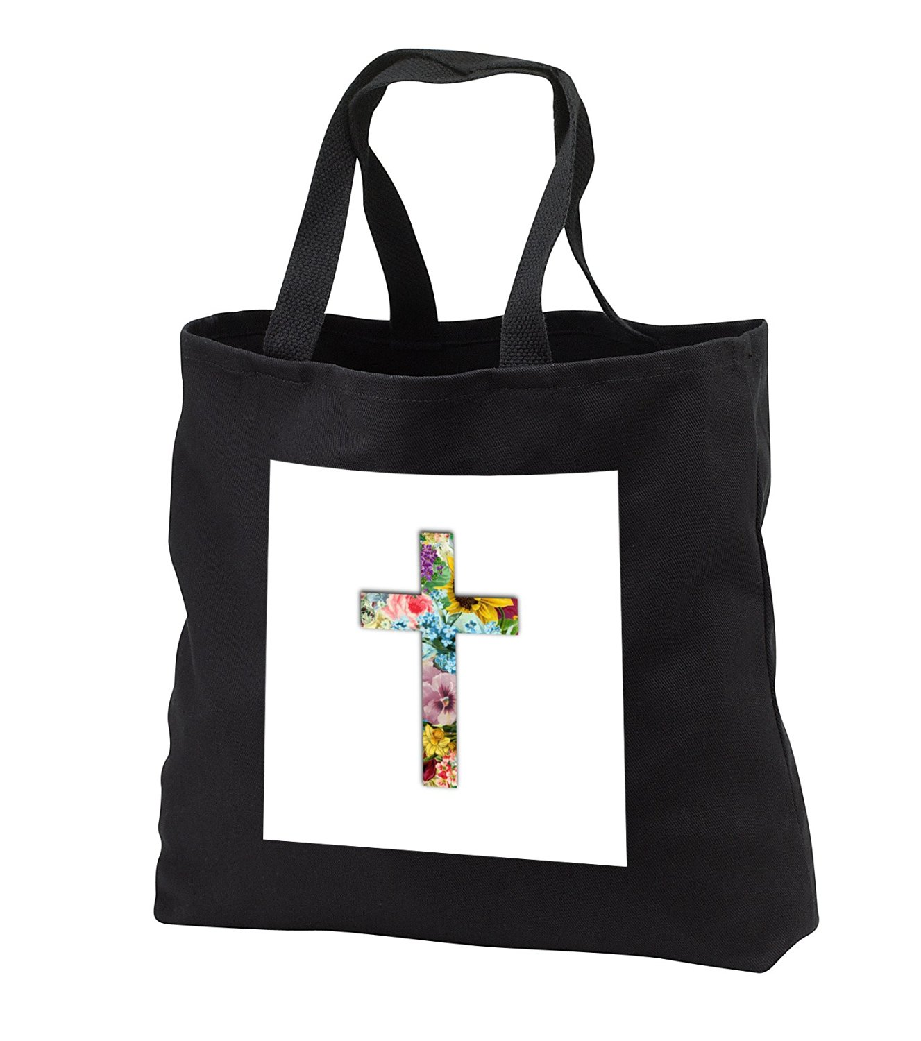 tb_185474 InspirationzStore Christian Designs - Floral Christian Cross. colorful girly flower pattern religious symbol - Tote Bags