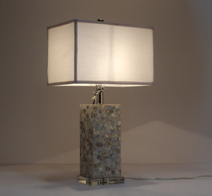 Wholesale fashion high quality rectangle crystal mother of Pearl shell body base square fabric lampshade mosaic table desk lamp