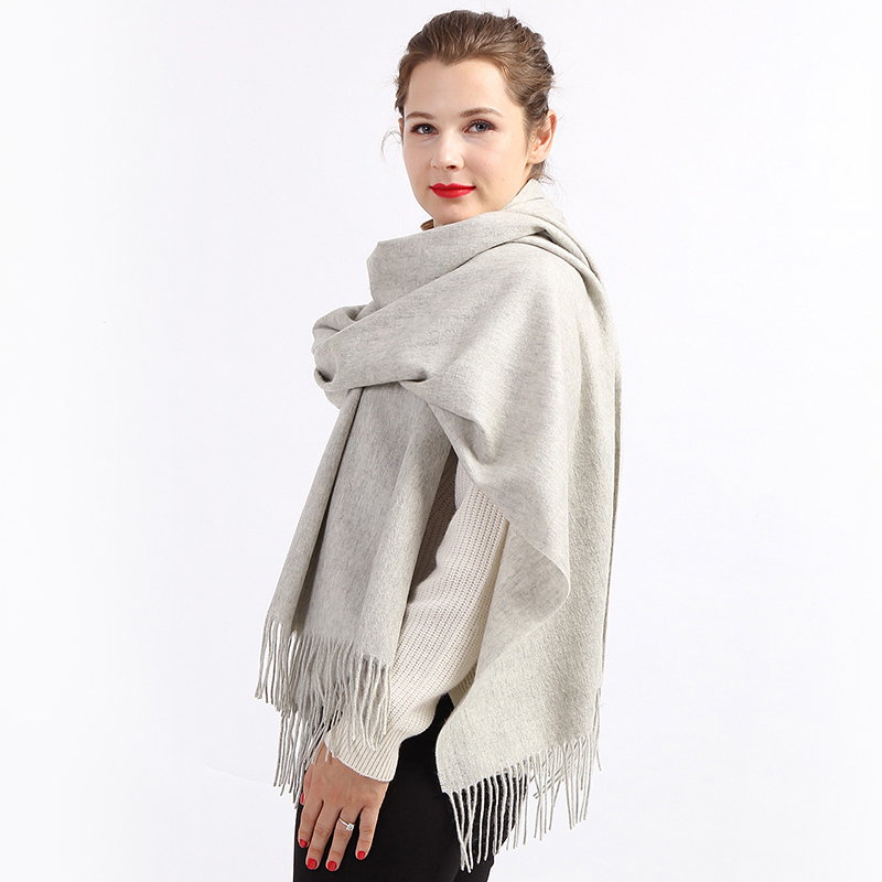 Wholesale soft women khiki solid color 100% cashmere stole shawls scarfs