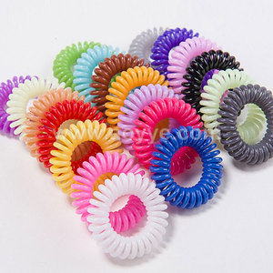 Wholesale jelly color TPU telephone cord line ponytail holders hair ring , coils elastic large curly hair band tie