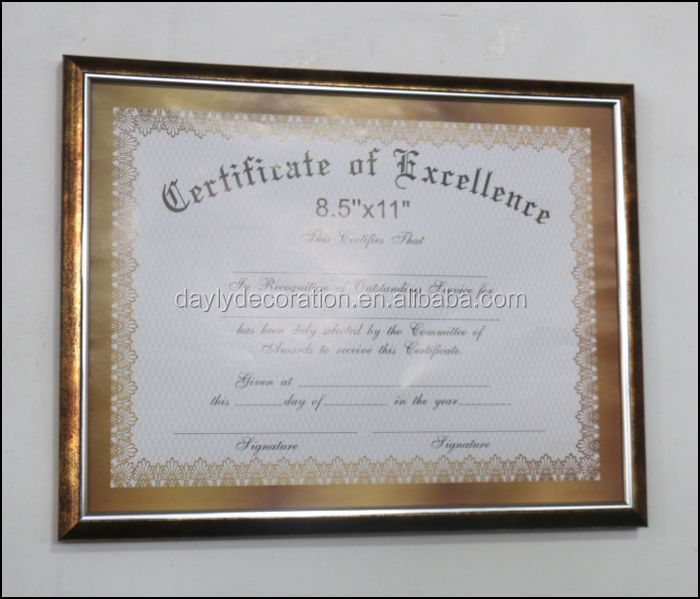 Retro PVC moulding certificaat frames gegraveerd honor A4 document frame hot selling
