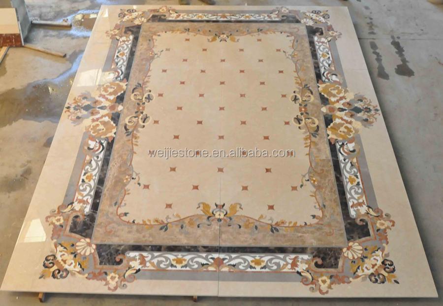 Rectangle Shape Royal Style Floor Marble Carpet Design