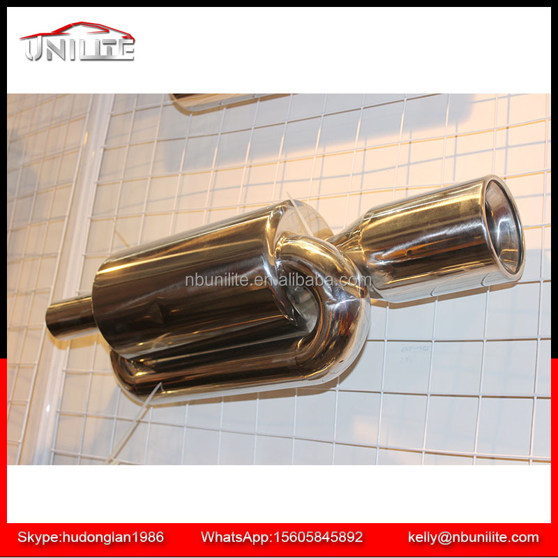 "Universal Twin Loop Polished Chrome Exhaust Muffler - 2.5"" Inlet"