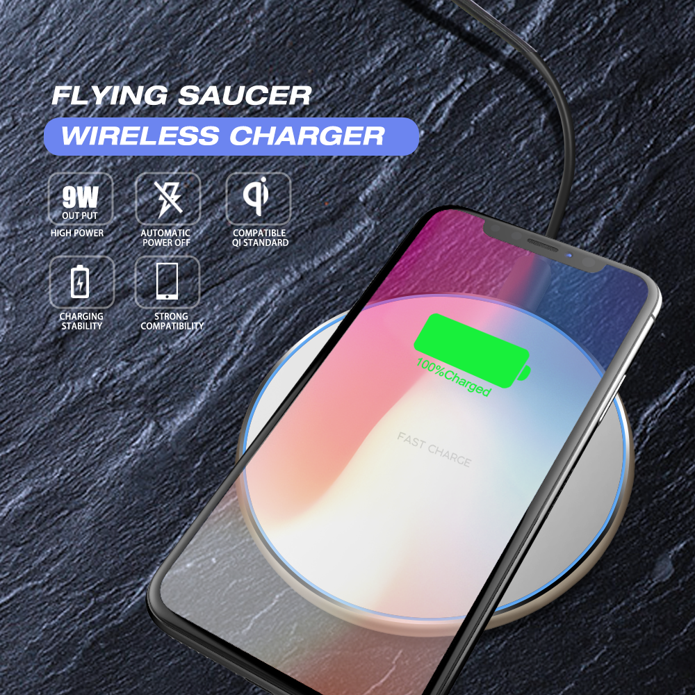 2019 Custom Logo Universal Qi Mobile Wireless Charger for iPhone 8 XS, XS plus Quick Charging