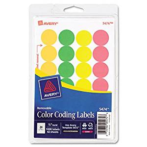 Avery Products - Avery - Print or Write Removable Color-Coding Labels, 3/4in dia, Asstd Neon, 1008/Pack - Sold As 1 Pack - Ideal for document and inventory control, routing, organizing, scheduling. - Labels stick well, remove easily, and leave no residue. - Handwrite or print from your printer. -