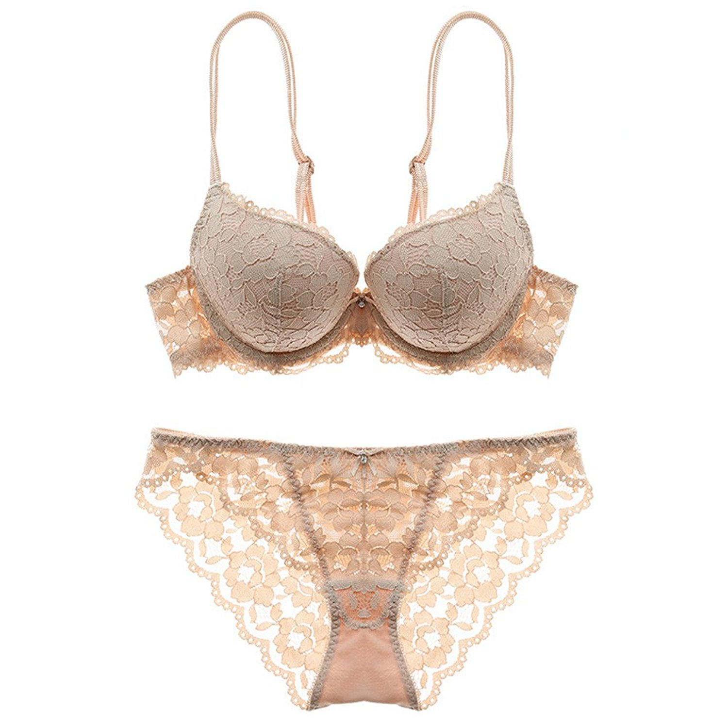 Get Quotations · MY AGLAIA Padded Solid Push Up Lace Bra   Knicker Matching  Set Lingerie Lilac Briefs Thong 76bbf995b