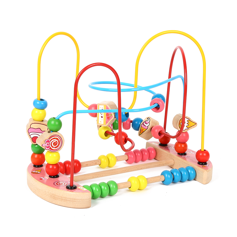 New fashion colorful intelligent wooden educational toy maze roller coaster beads toys