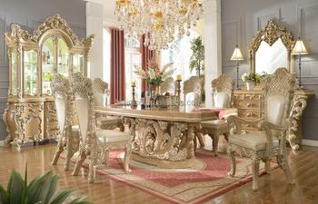 Italian Rococo Antique Rectangle 8 Persons Wooden Dining Table With Carving Base And Leather Chair