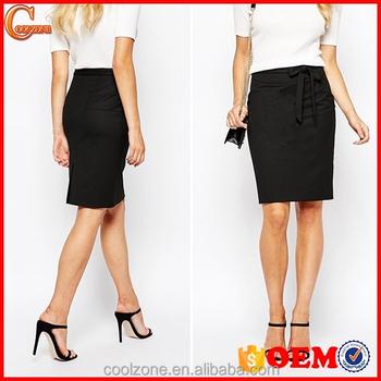 Fashion ladies office uniform design tie waist pencil for Office uniform design catalogue