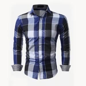 OEM Shirts For Men 100% Cotton Men Plaid Curved Hem Shirt