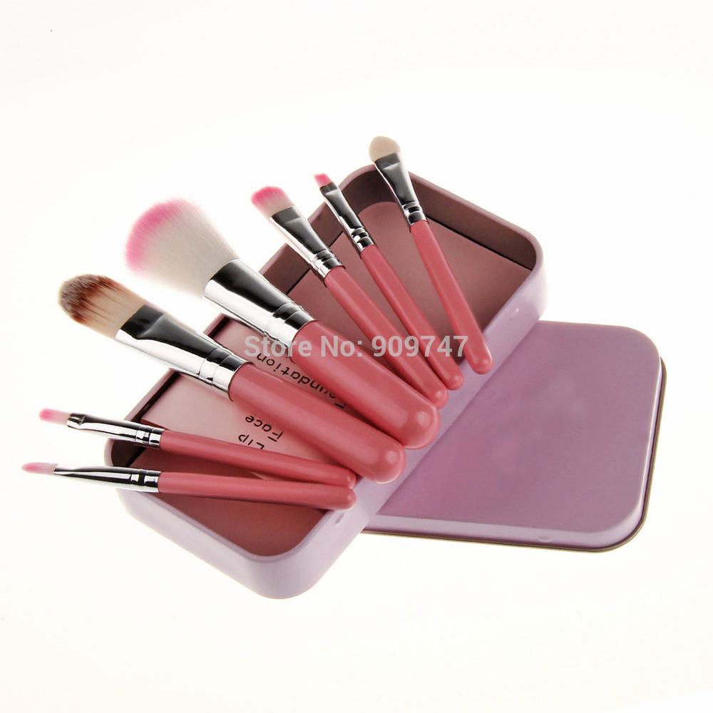 7 pcs makeup brushes professional a cosmetic brush sets makeup tools suit pink brushes with cute metal box free shipping