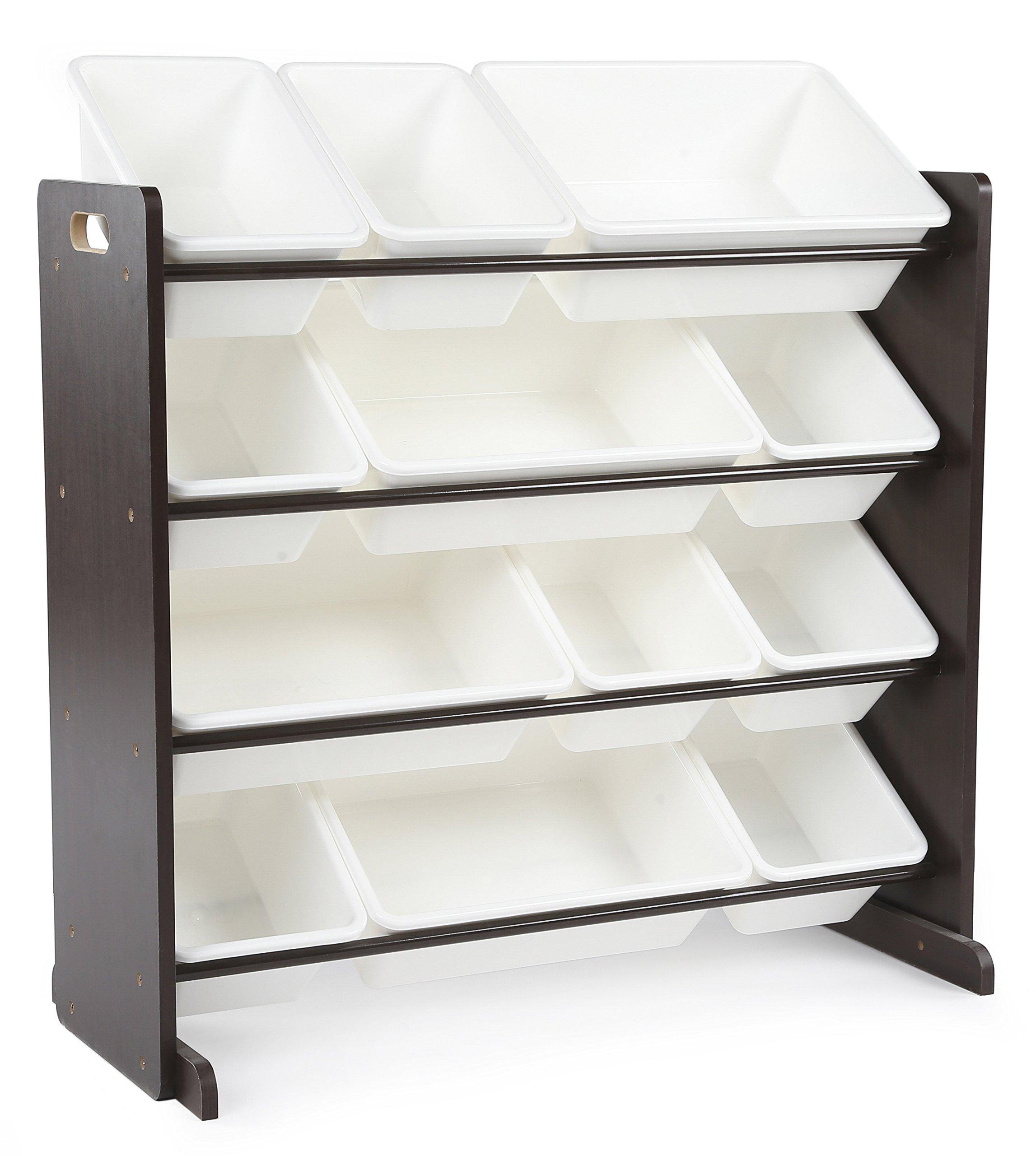 Get Quotations · Tot Tutors Kidsu0027 Toy Storage Organizer With 12 Plastic Bins,  Espresso/White (