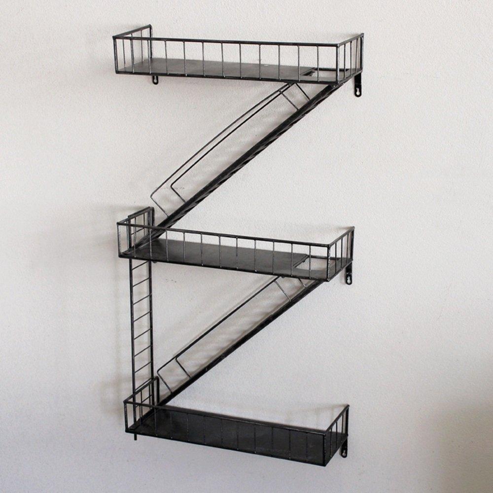 Wall-mounted shelves / loft industrial wind staircase shelves / wall-mounted storage shelves / bars wall display stand / coffee shop wall-mounted shelves /(975418cm)
