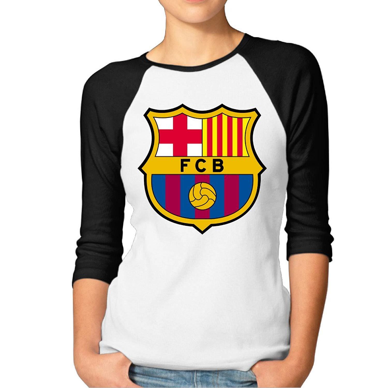 bfd9076e85e Women s Football Club FC Barcelona Classic Logo Vintage 3 4 Sleeve Raglan  Sleeves