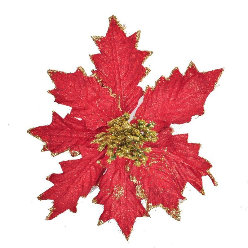 Hot  Hot - Christmas tree accessories quality cutout 20cm red christmas flower