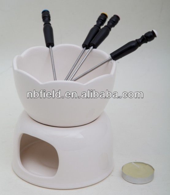 CERAMIC FONDUE SET CHOCOLADE FONDUE POT