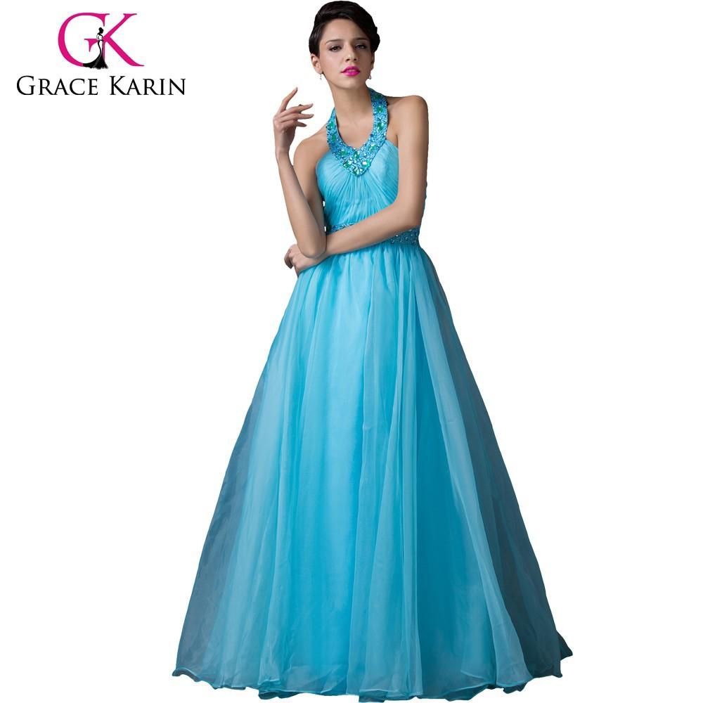 Grace Karin Blue Evening Dress Long Halter Ball Gown 2016 Formal ...