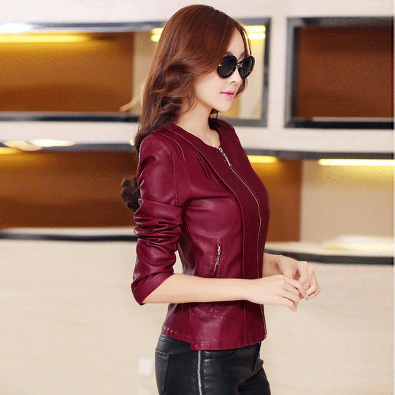 Женщины настоящее кожа короткая приталенный куртка воротник-хомут молния пальто женское верхней одежды M-5XL ZP516