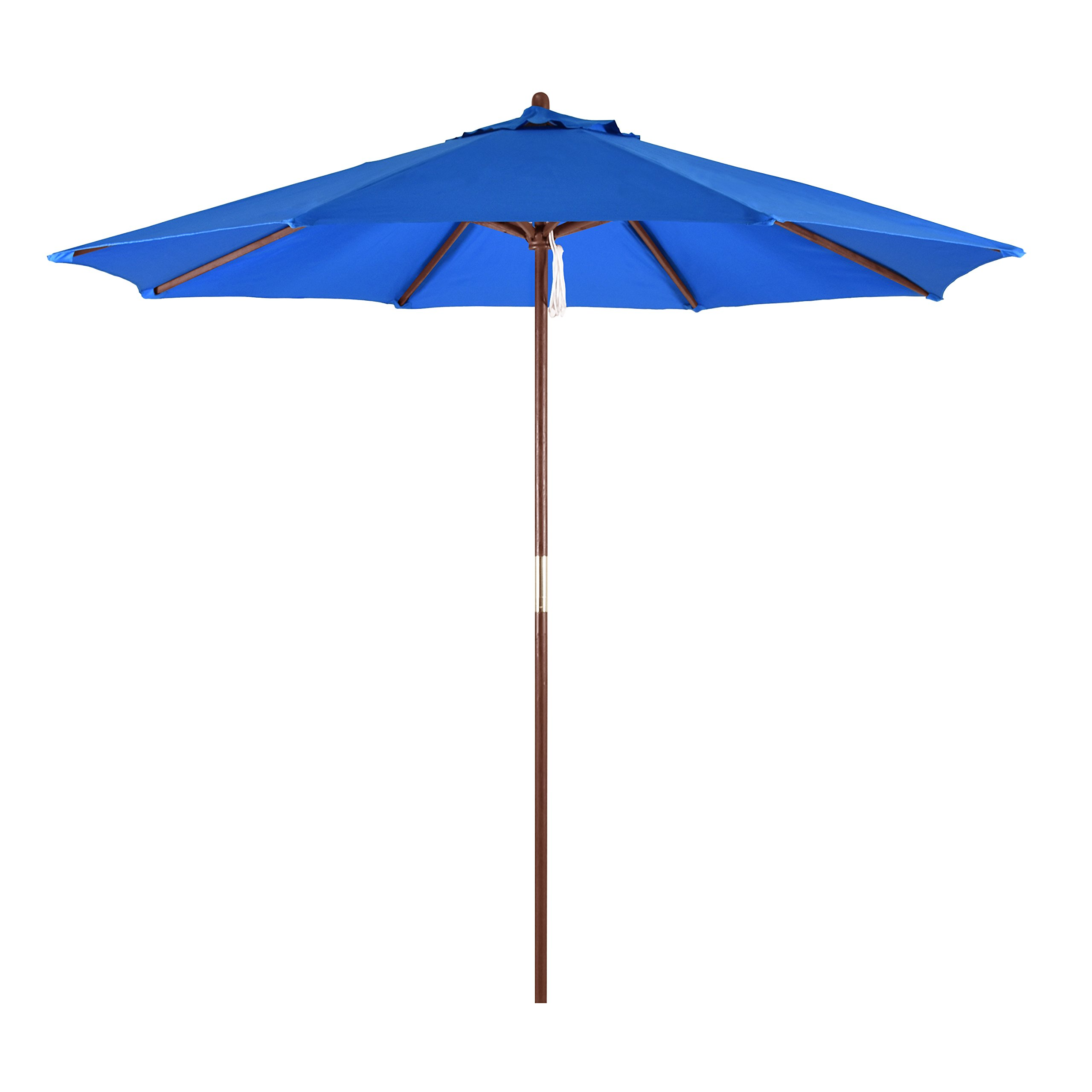 California Umbrella 9' Round Hardwood Frame Market Umbrella, Pulley Lift, Polyester Pacific Blue
