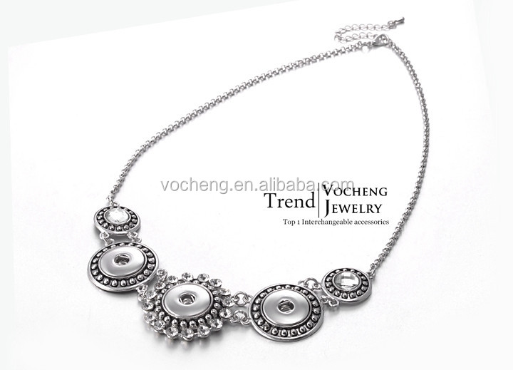 10pcs/lot Vocheng Interchangeable Jewelry 2 Colors 18mm Ginger Snap Facet Statement Necklace NN-078*10 Free Shipping