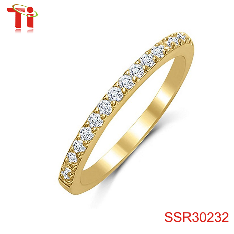 Ladies Thin Band .925 Sterling Silver Micro Pave Cubic Zirconia - Choose Your Color