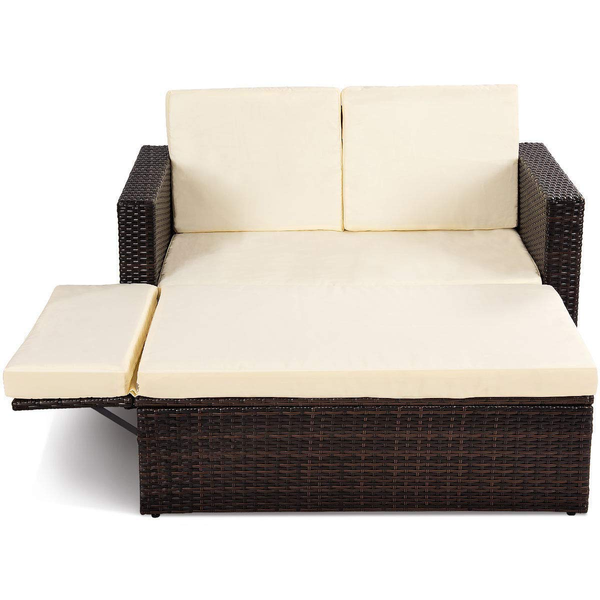 KCHEX>>2PCS Patio Rattan Loveseat Sofa Ottoman Daybed Garden Furniture Set W/Cushions>>This is Our loveseat Rattan Lounge Chair which is The Focal Point of Your Garden or Patio