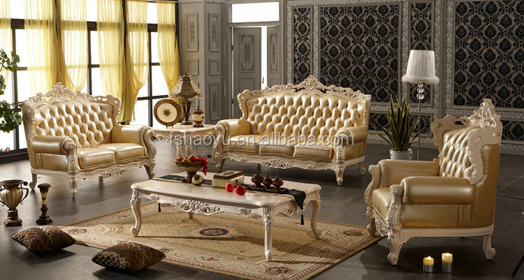 Arabic Style Living Room Sofa Fancy Leather Set