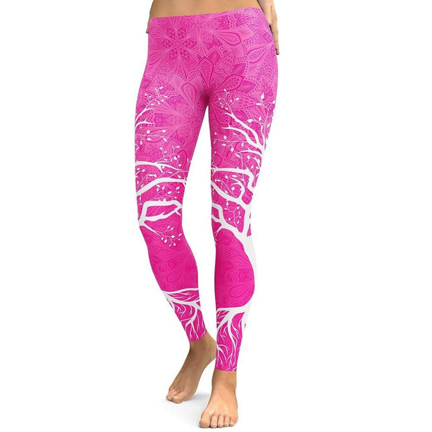 d3be1f8b742c0 Mnyycxen Women Floral Printed High Waist Skinny Stretch Yoga Fitness  Leggings Running Activewear Gym Trousers Pants