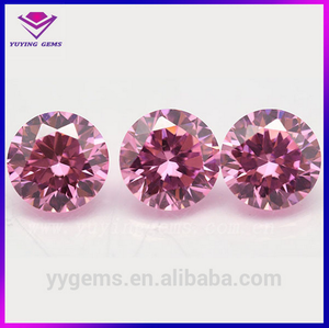 2.5mm Synthetic Machine Cut Round Shape Pink Jewelry Setting CZ Stone