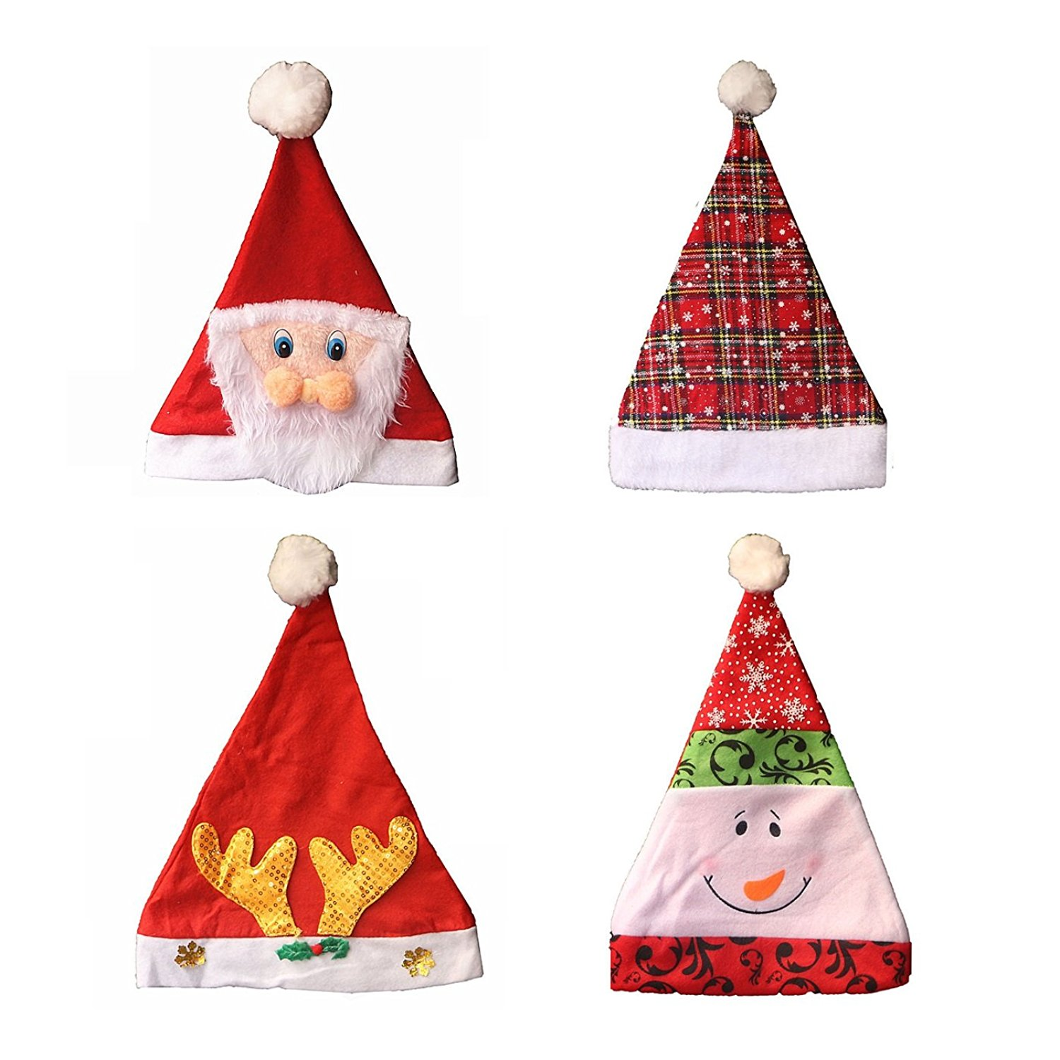get quotations style 4 pack christmas hats christmas day hat kids adults cartoon santa hat for celebrations and - Funny Christmas Hats Adults