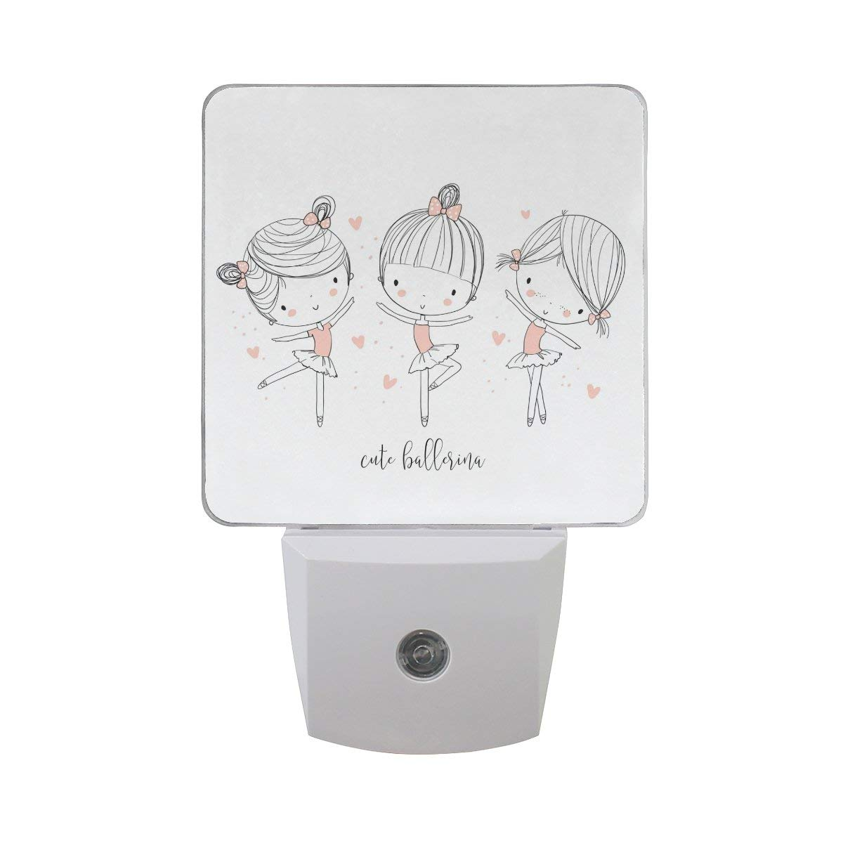 Naanle Set Of 2 Cute Fashion Ballerina Girls Dancing Ballet With Pink Heart  On White Auto 3b2ac124967ff