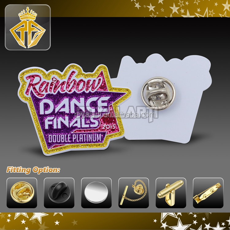 White and glitter dance spray lacquer Lapel pin
