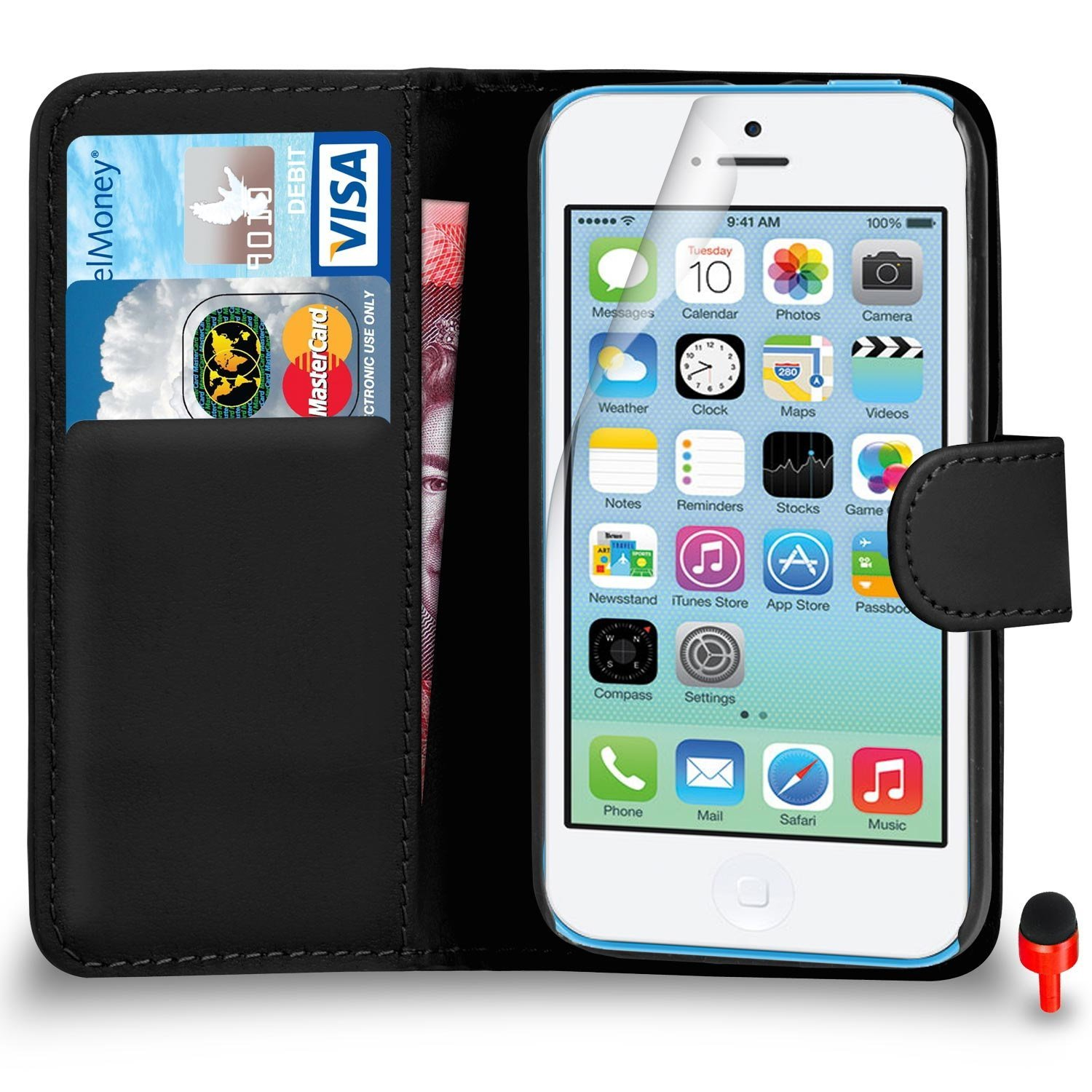 Apple iPhone 5C Premium Leather Black Wallet Flip Case Cover PouchRED DS+ Screen Protector & Polishing Cloth SVL0 BY SHUKAN®, (WALLET BLACK)