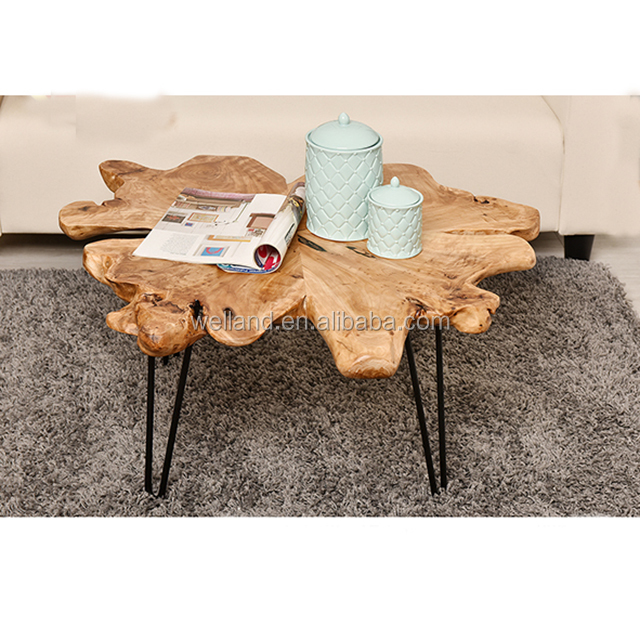 Vlinder Cedar Wood Table Top With Metal Legs Natural Appearance