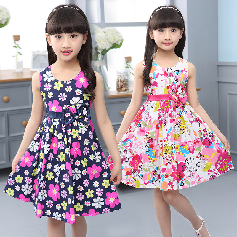 New Elegant Summer Baby Girl's Flower Dresses Cotton Printing Girl Slim Children's Princess Dress