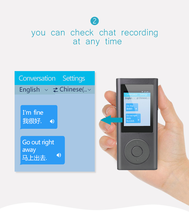 Translation machine with 35 languages and millisecond speed translate for meeting and Tourism