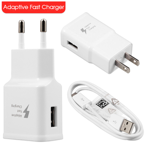 9V 1.7A Adaptive Fast Charging US Plug Wall Charger 1.2M Micro V8 Usb Cable For Samsung Galaxy S7 S8 S6