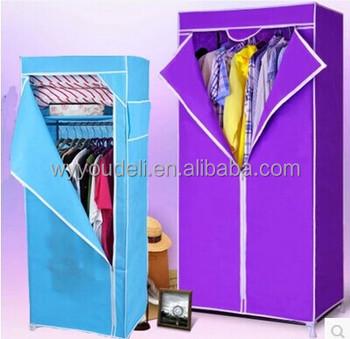 Assembly16mm Tube Breathable Cloth Closet, Folding 600D 3 Door Steel  Wardrobe