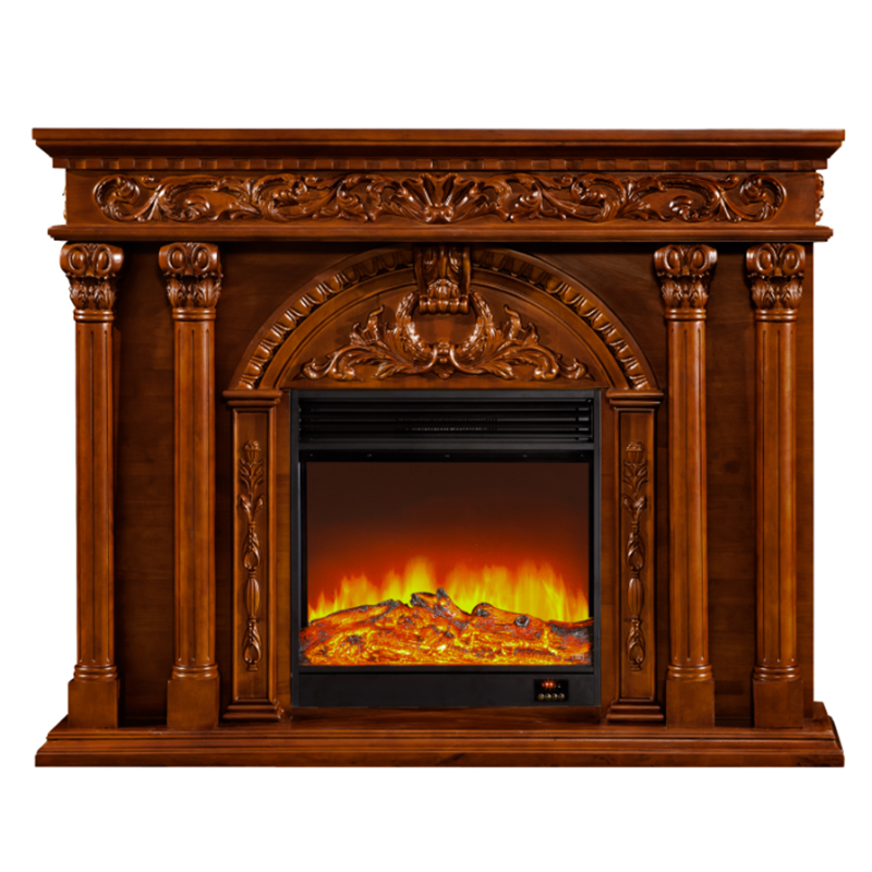 Natural Wood Beige Stone Marble Fireplace Insert Mantel Surround Sculpture Carving
