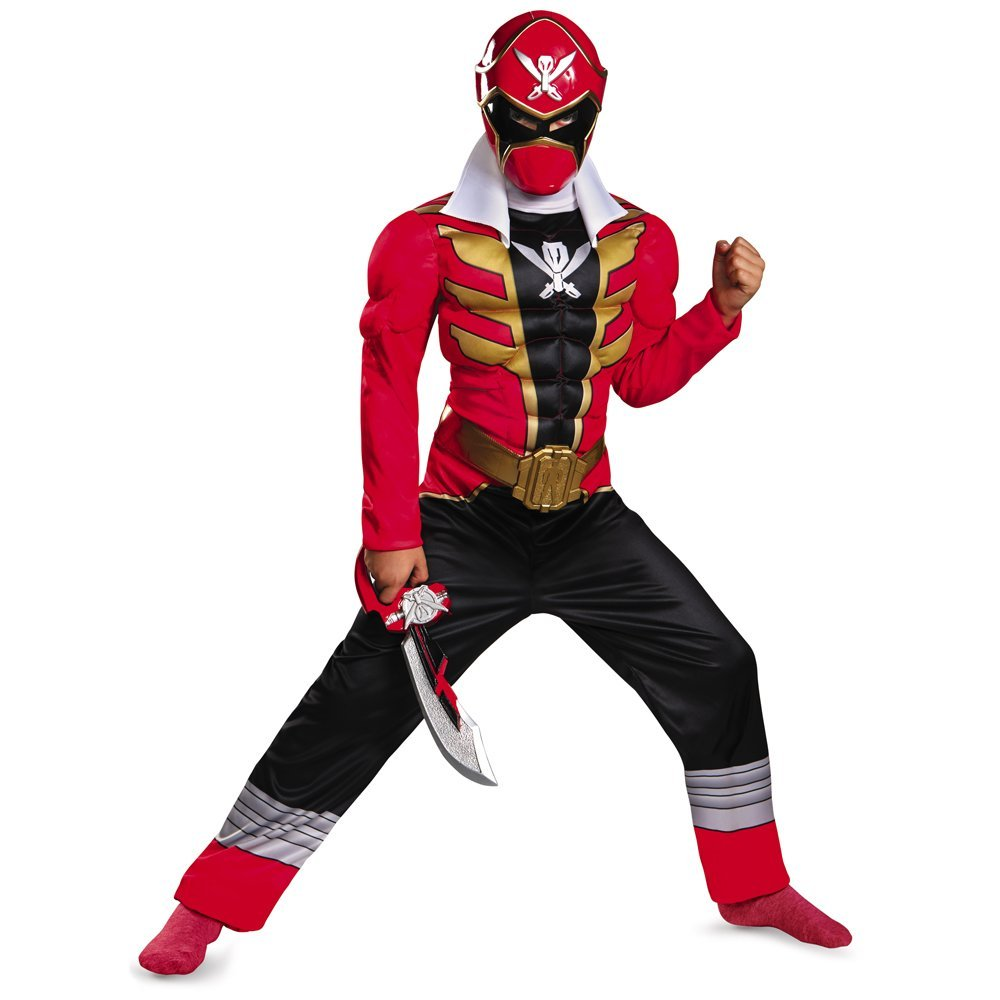 Disguise Saban Super MegaForce Power Rangers Red Ranger Classic Muscle Boys Costume, Small/4-6